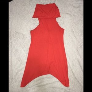 Analili XL Orange Fall Slinky Sexy Dress High Low